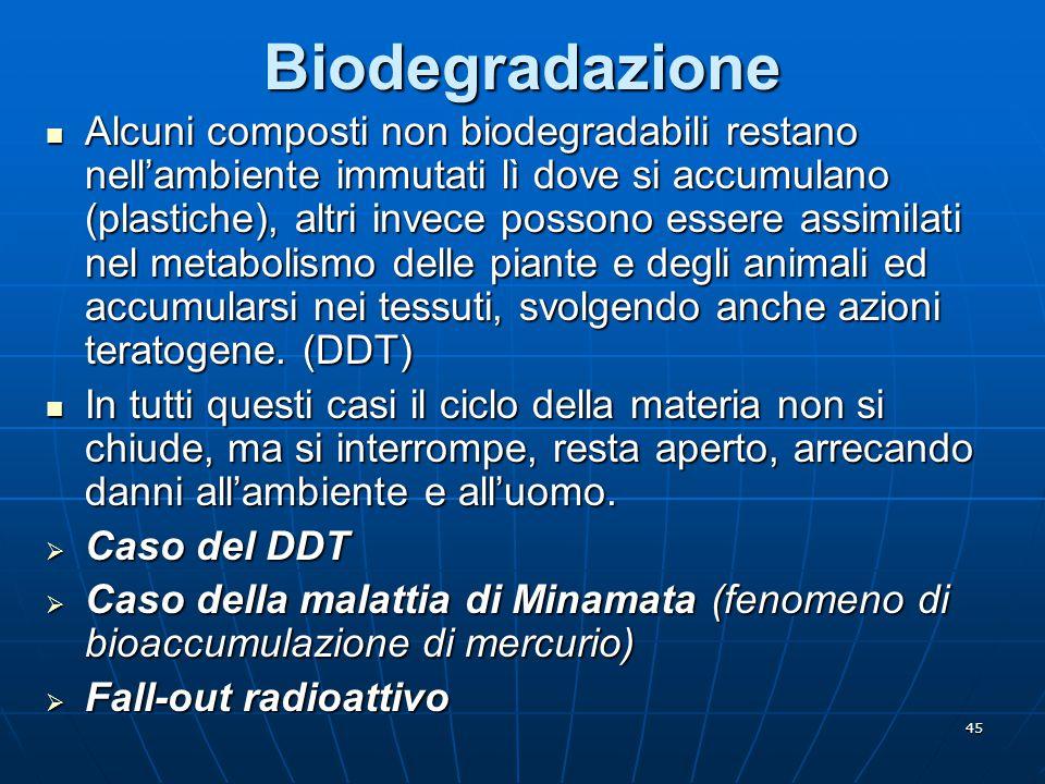 45Biodegradazione Alcuni composti non biodegradabili restano nell'ambiente immutati lì dove si accumulano (plastiche), altri invece possono essere ass