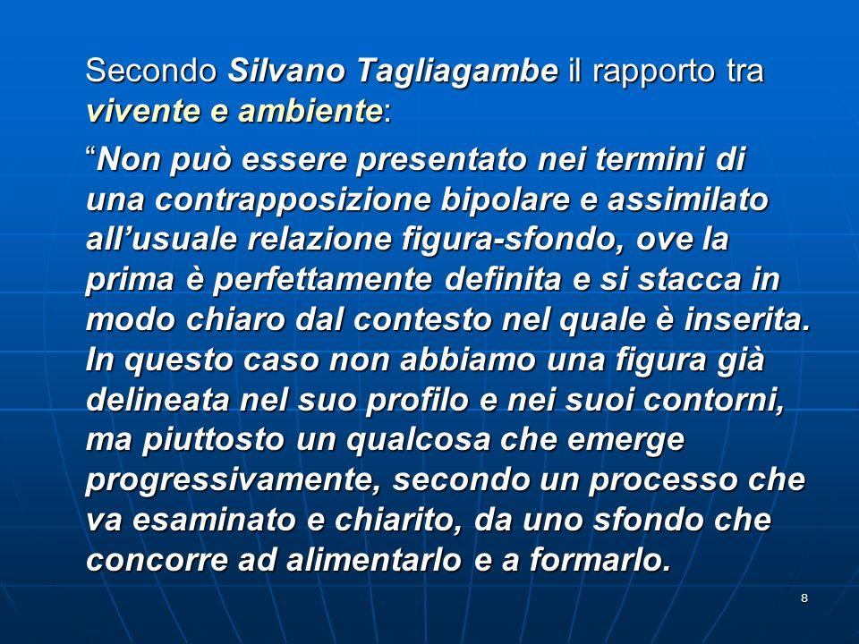"""8 Secondo Silvano Tagliagambe il rapporto tra vivente e ambiente: """"Non può essere presentato nei termini di una contrapposizione bipolare e assimilato"""