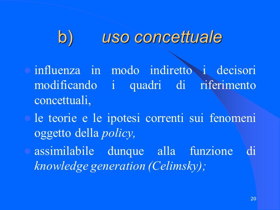 20 b) uso concettuale influenza in modo indiretto i decisori modificando i quadri di riferimento concettuali, le teorie e le ipotesi correnti sui fenomeni oggetto della policy, assimilabile dunque alla funzione di knowledge generation (Celimsky);