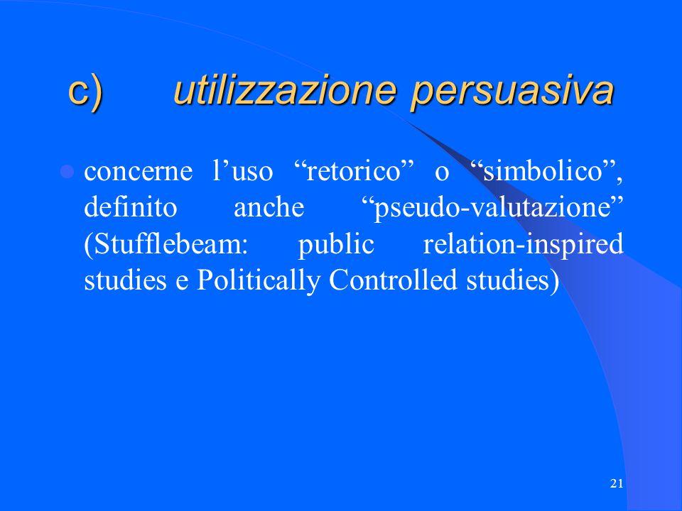 21 c) utilizzazione persuasiva concerne l'uso retorico o simbolico , definito anche pseudo-valutazione (Stufflebeam: public relation-inspired studies e Politically Controlled studies)