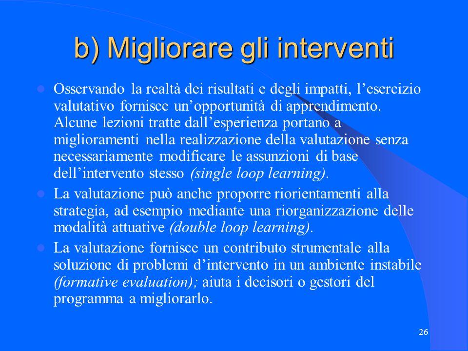 26 b) Migliorare gli interventi Osservando la realtà dei risultati e degli impatti, l'esercizio valutativo fornisce un'opportunità di apprendimento.