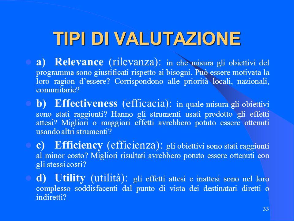 33 TIPI DI VALUTAZIONE a)Relevance (rilevanza): in che misura gli obiettivi del programma sono giustificati rispetto ai bisogni.