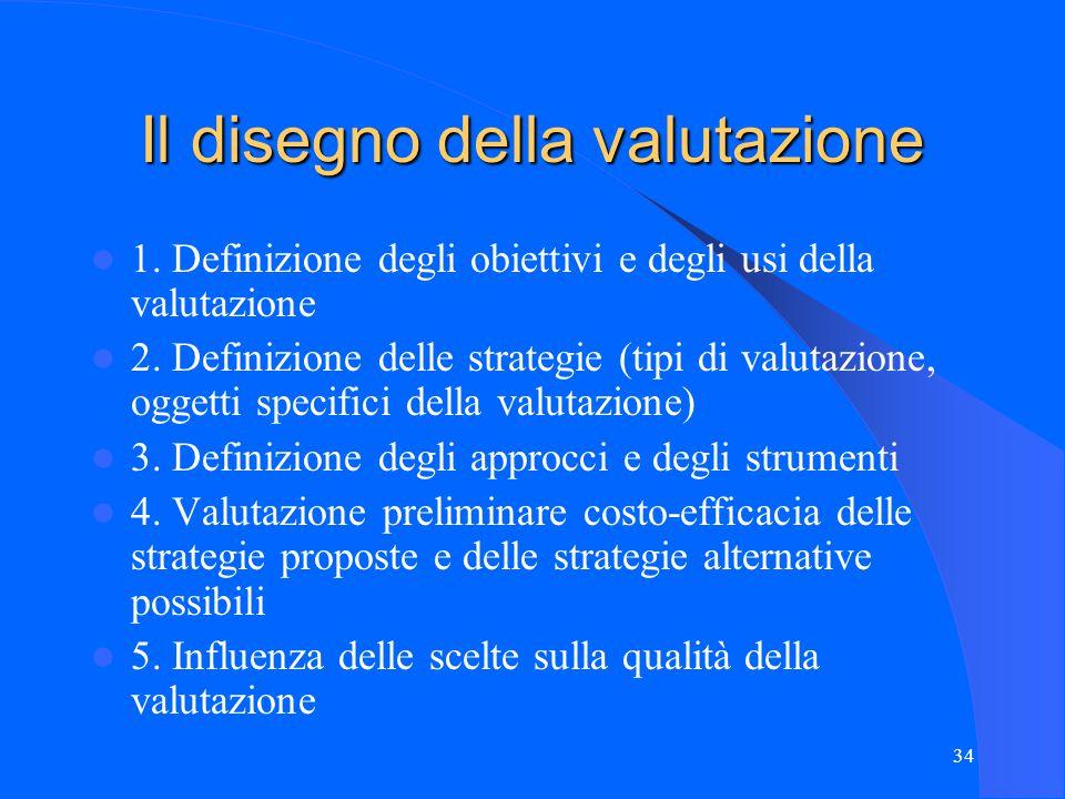 34 Il disegno della valutazione 1. Definizione degli obiettivi e degli usi della valutazione 2.