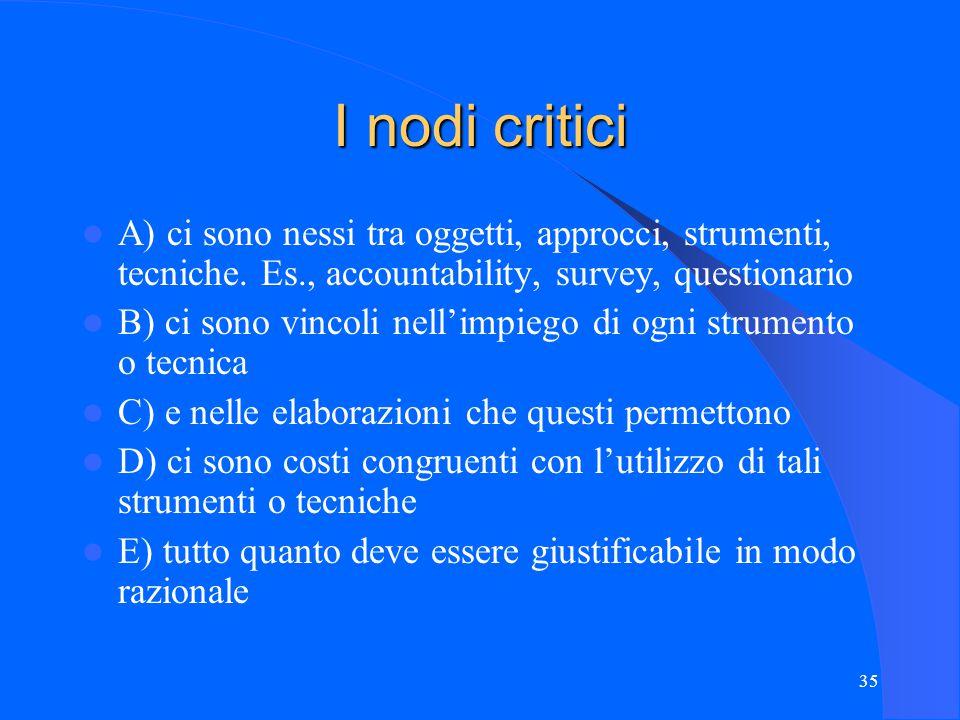 35 I nodi critici A) ci sono nessi tra oggetti, approcci, strumenti, tecniche.