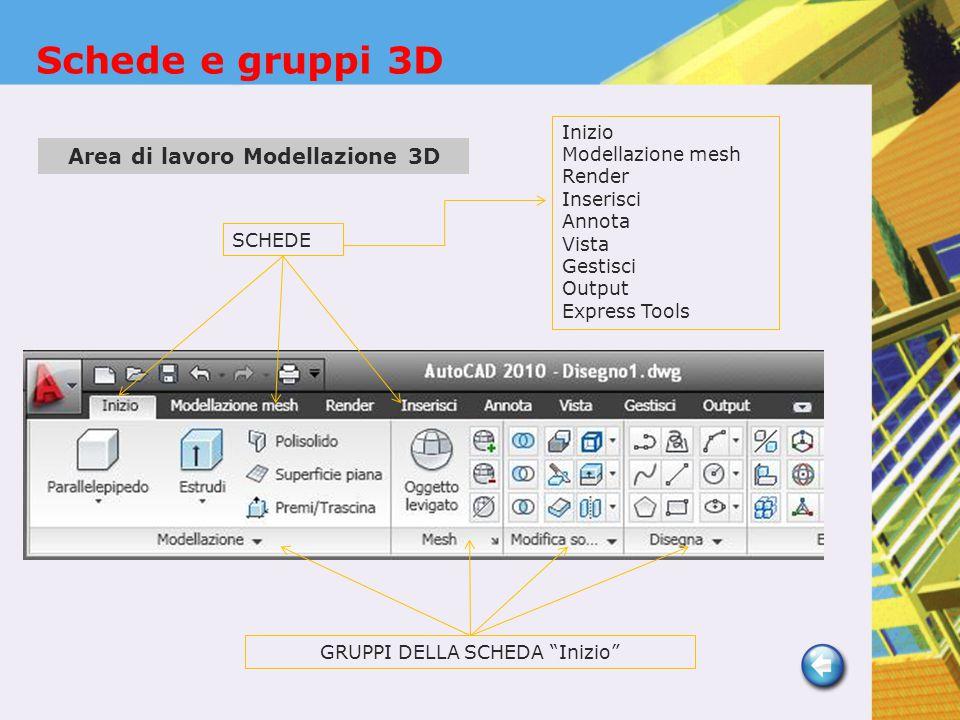 SCHEDE GRUPPI DELLA SCHEDA Inizio Inizio Modellazione mesh Render Inserisci Annota Vista Gestisci Output Express Tools Area di lavoro Modellazione 3D Schede e gruppi 3D