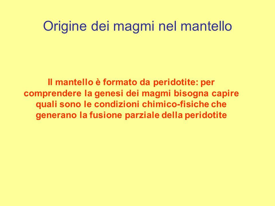 Origine dei magmi nel mantello Il mantello è formato da peridotite: per comprendere la genesi dei magmi bisogna capire quali sono le condizioni chimic