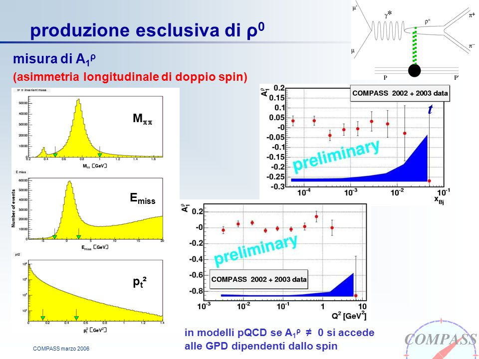 COMPASS marzo 2006 produzione esclusiva di ρ 0 misura di A 1 ρ (asimmetria longitudinale di doppio spin) in modelli pQCD se A 1 ρ ≠ 0 si accede alle GPD dipendenti dallo spin t * M  E miss pt²pt²