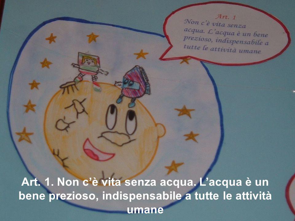Art.2 Le disponibilità di acqua dolce non sono inesauribili.