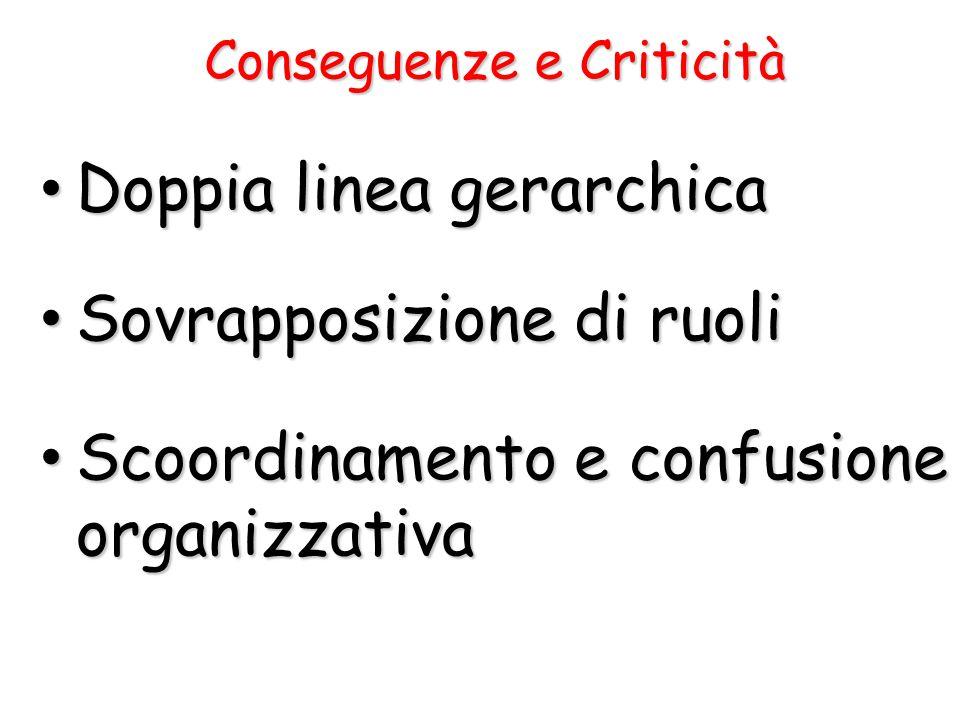 Doppia linea gerarchica Doppia linea gerarchica Sovrapposizione di ruoli Sovrapposizione di ruoli Scoordinamento e confusione organizzativa Scoordinam