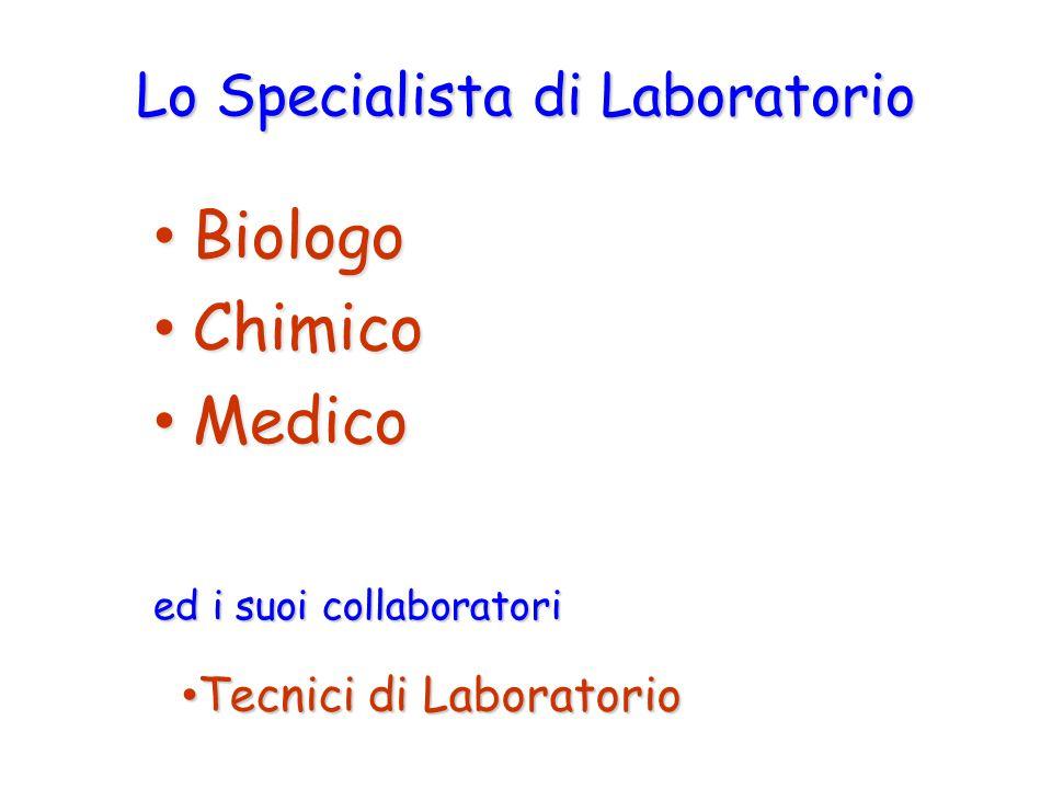 Biologo Biologo Chimico Chimico Medico Medico Lo Specialista di Laboratorio Tecnici di Laboratorio Tecnici di Laboratorio ed i suoi collaboratori
