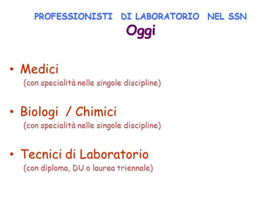 PROFESSIONISTI DI LABORATORIO NEL SSN Oggi Medici Medici (con specialità nelle singole discipline) Biologi / Chimici Biologi / Chimici (con specialità