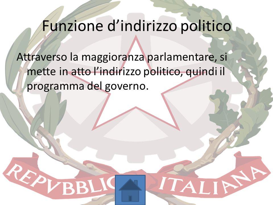 Funzione d'indirizzo politico Attraverso la maggioranza parlamentare, si mette in atto l'indirizzo politico, quindi il programma del governo.