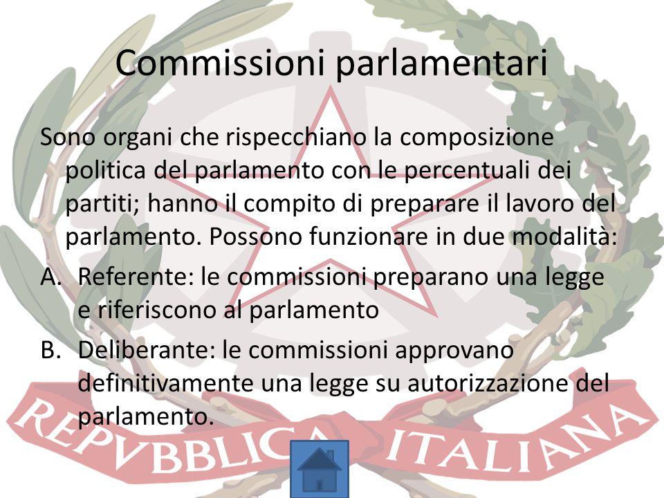 Commissioni parlamentari Sono organi che rispecchiano la composizione politica del parlamento con le percentuali dei partiti; hanno il compito di prep