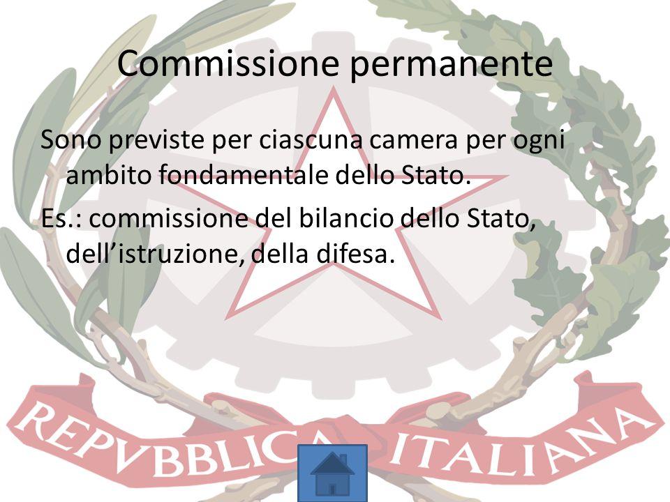 Commissione permanente Sono previste per ciascuna camera per ogni ambito fondamentale dello Stato. Es.: commissione del bilancio dello Stato, dell'ist