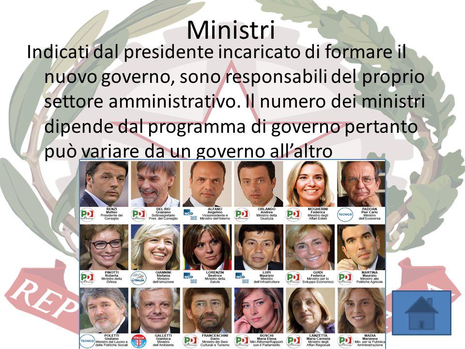 Ministri Indicati dal presidente incaricato di formare il nuovo governo, sono responsabili del proprio settore amministrativo. Il numero dei ministri