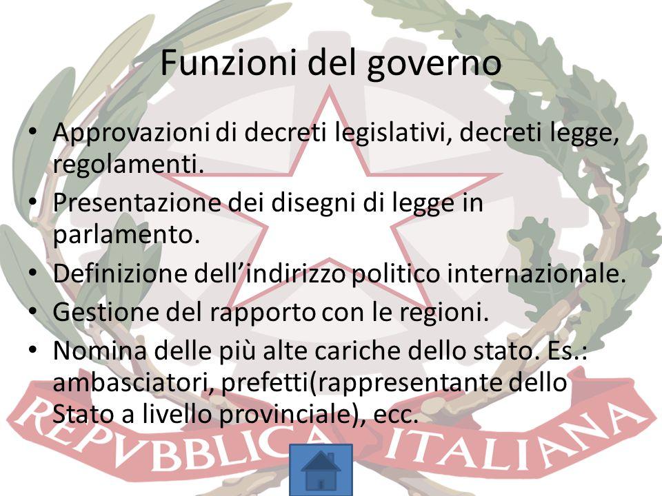Funzioni del governo Approvazioni di decreti legislativi, decreti legge, regolamenti. Presentazione dei disegni di legge in parlamento. Definizione de