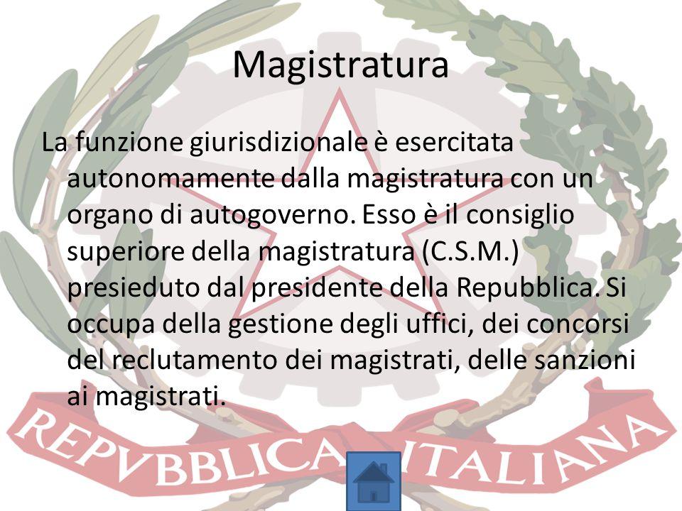 Magistratura La funzione giurisdizionale è esercitata autonomamente dalla magistratura con un organo di autogoverno. Esso è il consiglio superiore del