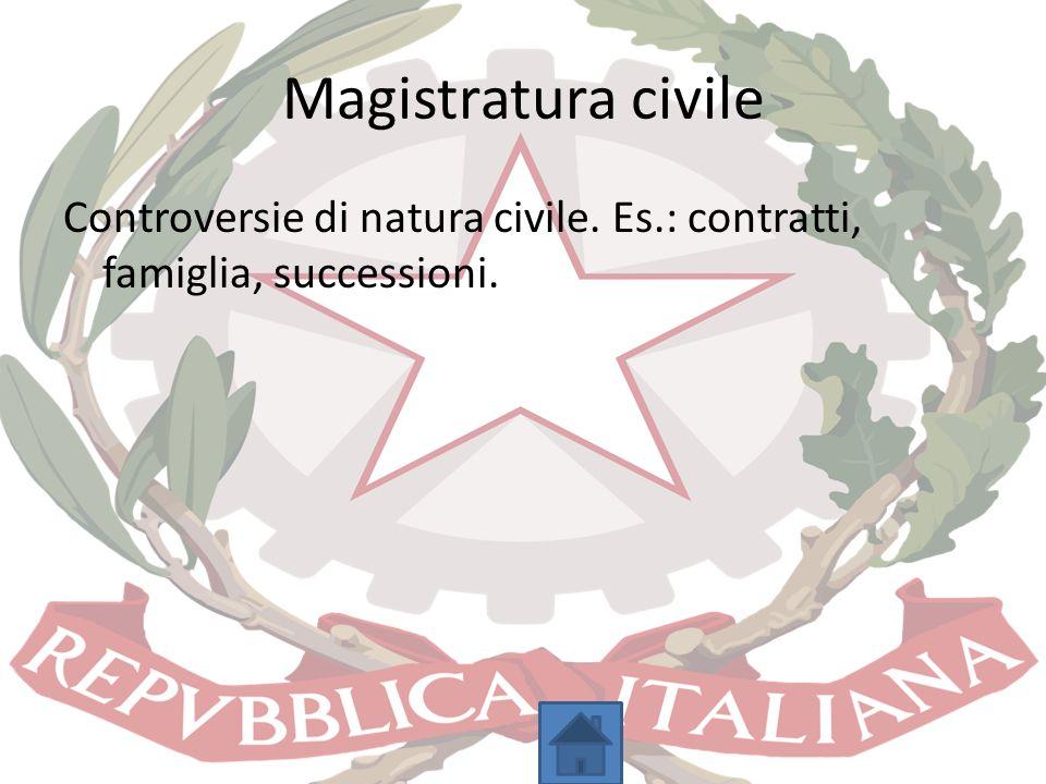 Magistratura civile Controversie di natura civile. Es.: contratti, famiglia, successioni.