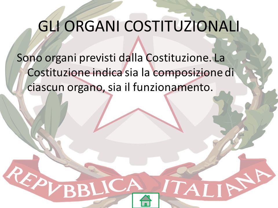 GLI ORGANI COSTITUZIONALI Sono organi previsti dalla Costituzione. La Costituzione indica sia la composizione di ciascun organo, sia il funzionamento.
