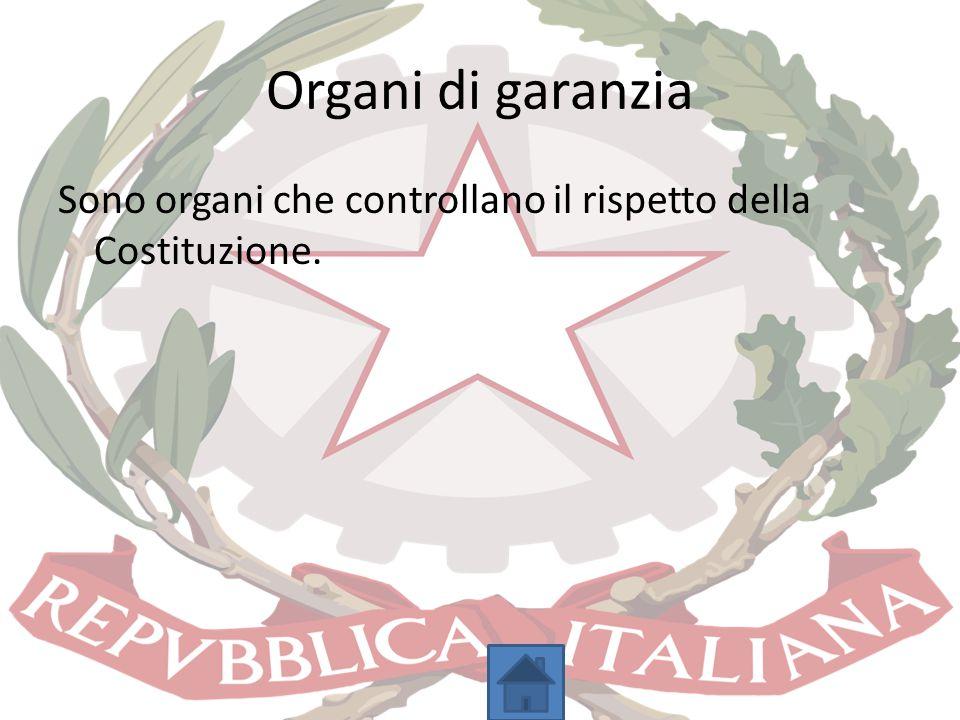 Organi di garanzia Sono organi che controllano il rispetto della Costituzione.