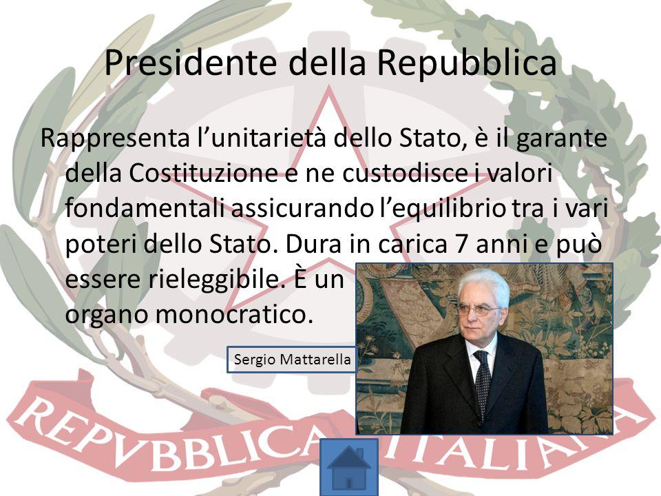 Presidente della Repubblica Rappresenta l'unitarietà dello Stato, è il garante della Costituzione e ne custodisce i valori fondamentali assicurando l'