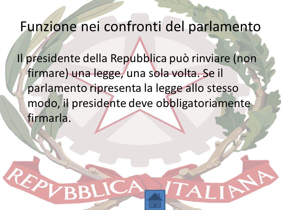 Funzione nei confronti del parlamento Il presidente della Repubblica può rinviare (non firmare) una legge, una sola volta. Se il parlamento ripresenta