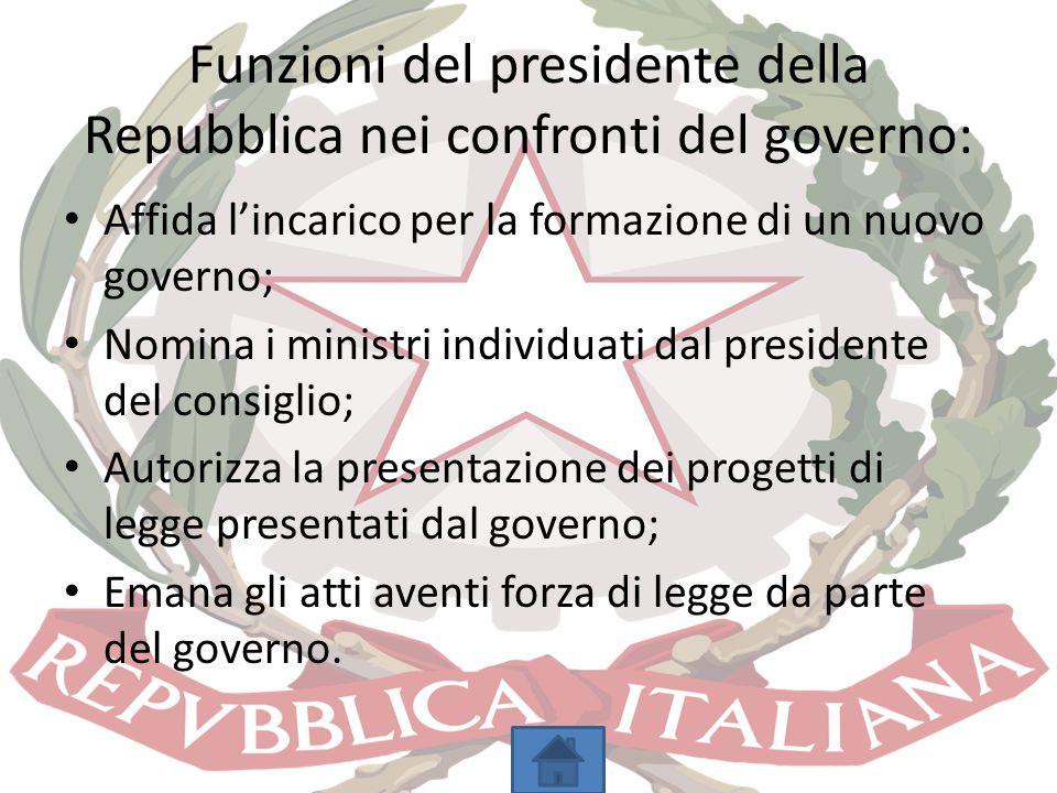 Funzioni del presidente della Repubblica nei confronti del governo: Affida l'incarico per la formazione di un nuovo governo; Nomina i ministri individ