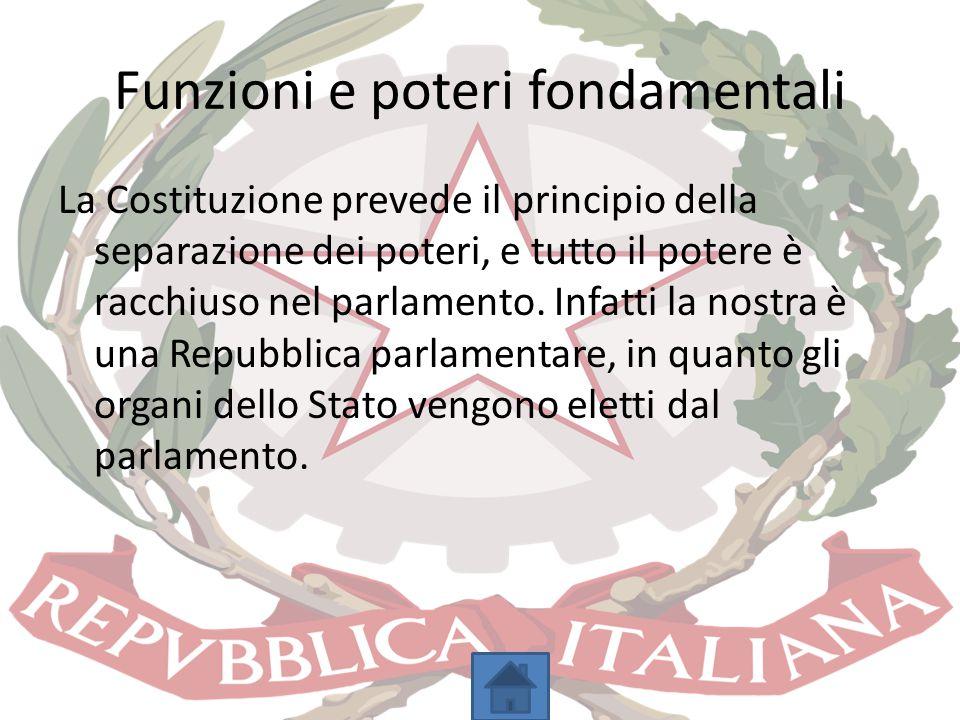 Funzioni e poteri fondamentali La Costituzione prevede il principio della separazione dei poteri, e tutto il potere è racchiuso nel parlamento. Infatt
