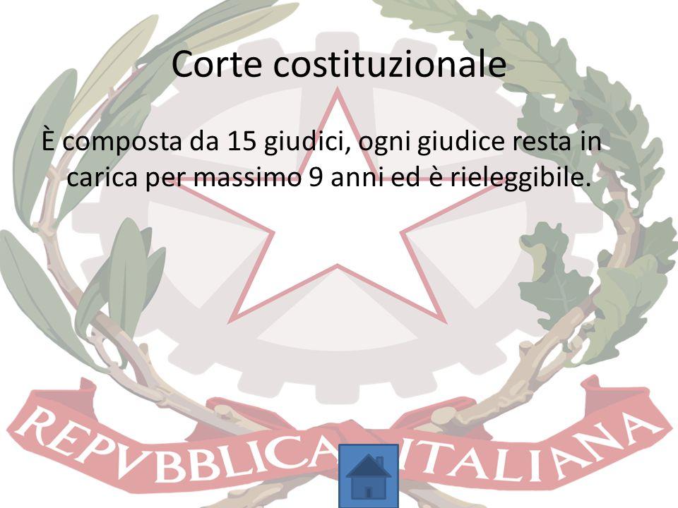 Corte costituzionale È composta da 15 giudici, ogni giudice resta in carica per massimo 9 anni ed è rieleggibile.