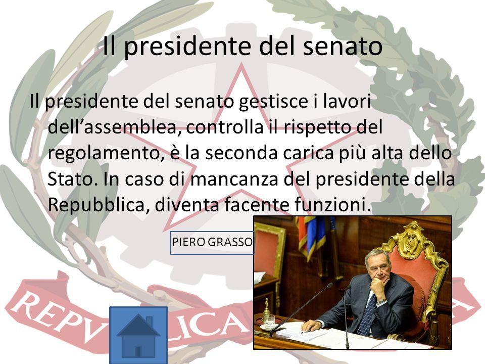 Il presidente del senato Il presidente del senato gestisce i lavori dell'assemblea, controlla il rispetto del regolamento, è la seconda carica più alt