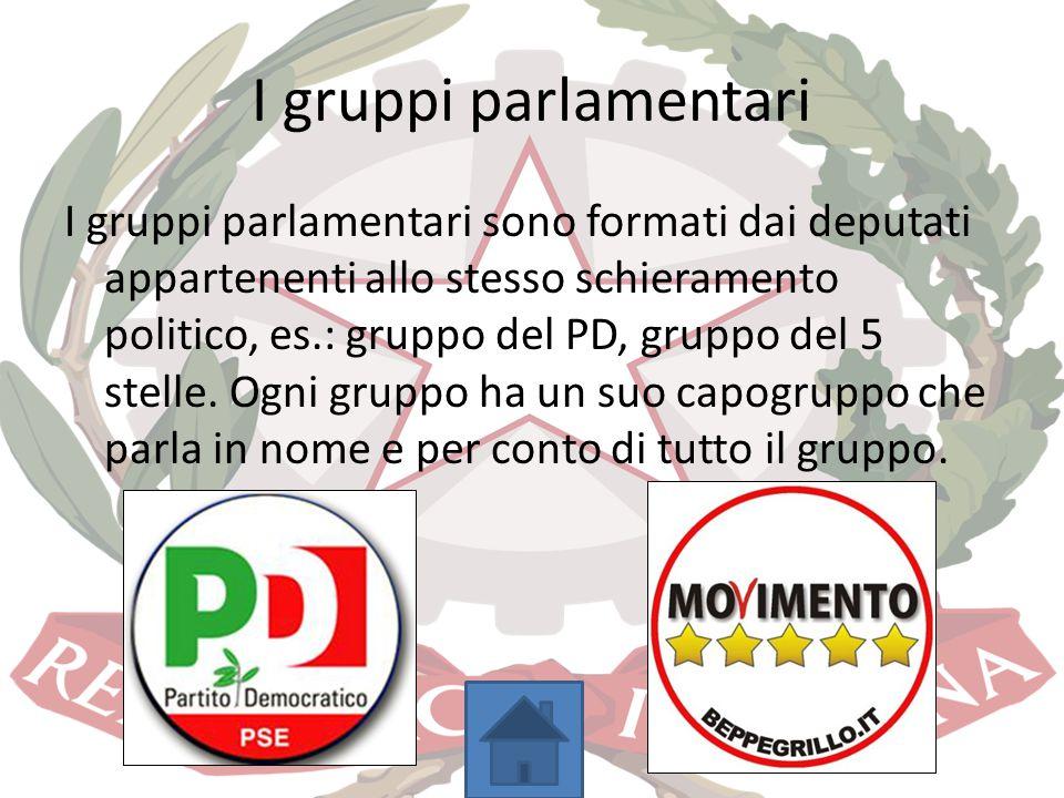 I gruppi parlamentari I gruppi parlamentari sono formati dai deputati appartenenti allo stesso schieramento politico, es.: gruppo del PD, gruppo del 5