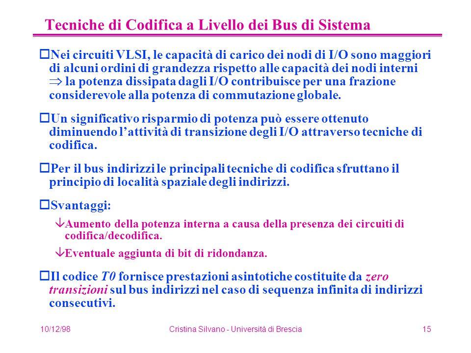 10/12/98Cristina Silvano - Università di Brescia15 Tecniche di Codifica a Livello dei Bus di Sistema oNei circuiti VLSI, le capacità di carico dei nod