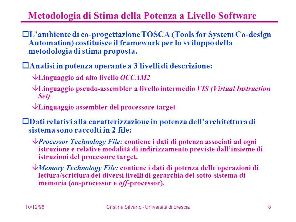 10/12/98Cristina Silvano - Università di Brescia8 Metodologia di Stima della Potenza a Livello Software oL'ambiente di co-progettazione TOSCA (Tools f