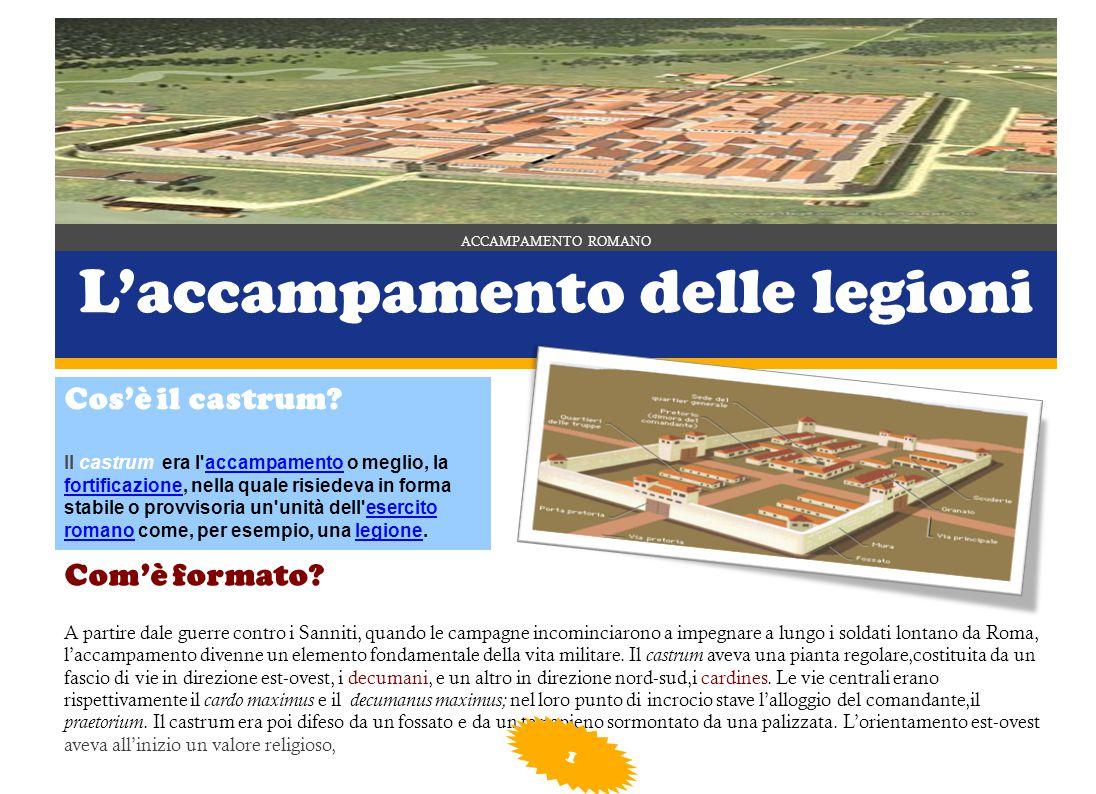 ACCAMPAMENTO ROMANO L'accampamento delle legioni Cos'è il castrum.