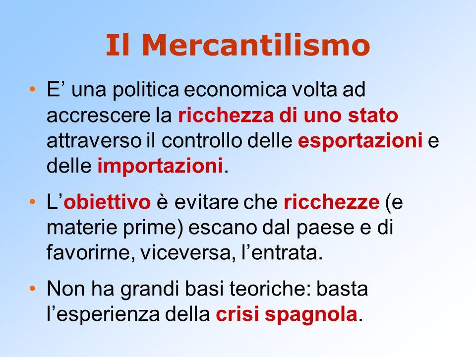 Il Mercantilismo E' una politica economica volta ad accrescere la ricchezza di uno stato attraverso il controllo delle esportazioni e delle importazio