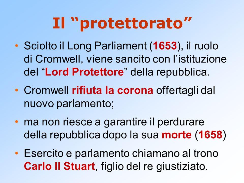 """Il """"protettorato"""" Sciolto il Long Parliament (1653), il ruolo di Cromwell, viene sancito con l'istituzione del """"Lord Protettore"""" della repubblica. Cro"""