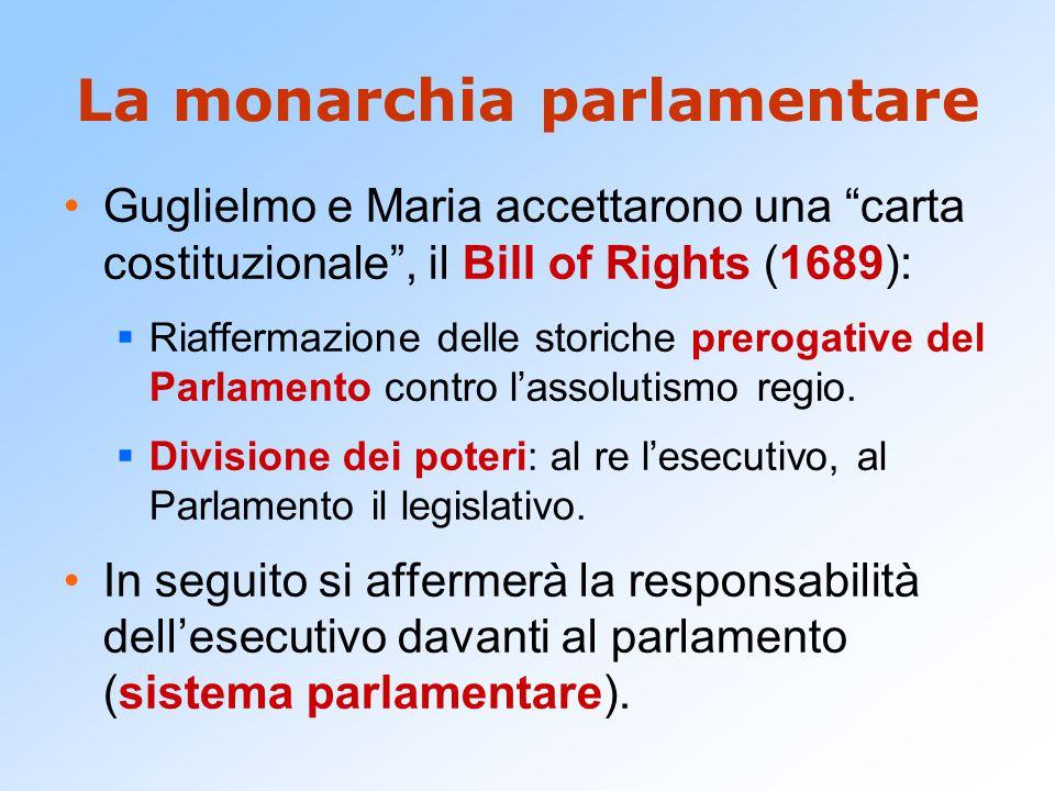 """La monarchia parlamentare Guglielmo e Maria accettarono una """"carta costituzionale"""", il Bill of Rights (1689):  Riaffermazione delle storiche prerogat"""
