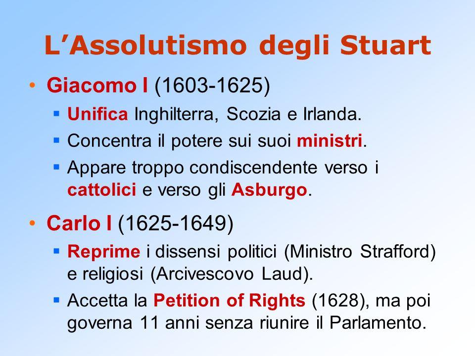 L'Assolutismo degli Stuart Giacomo I (1603-1625)  Unifica Inghilterra, Scozia e Irlanda.  Concentra il potere sui suoi ministri.  Appare troppo con