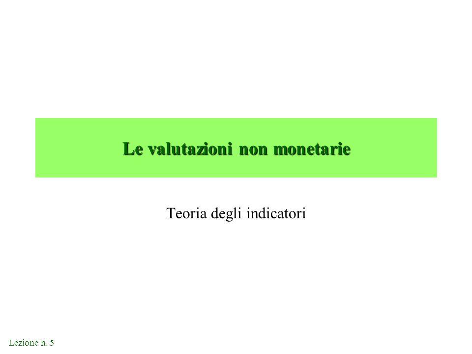 Lezione n. 5 Le valutazioni non monetarie Teoria degli indicatori