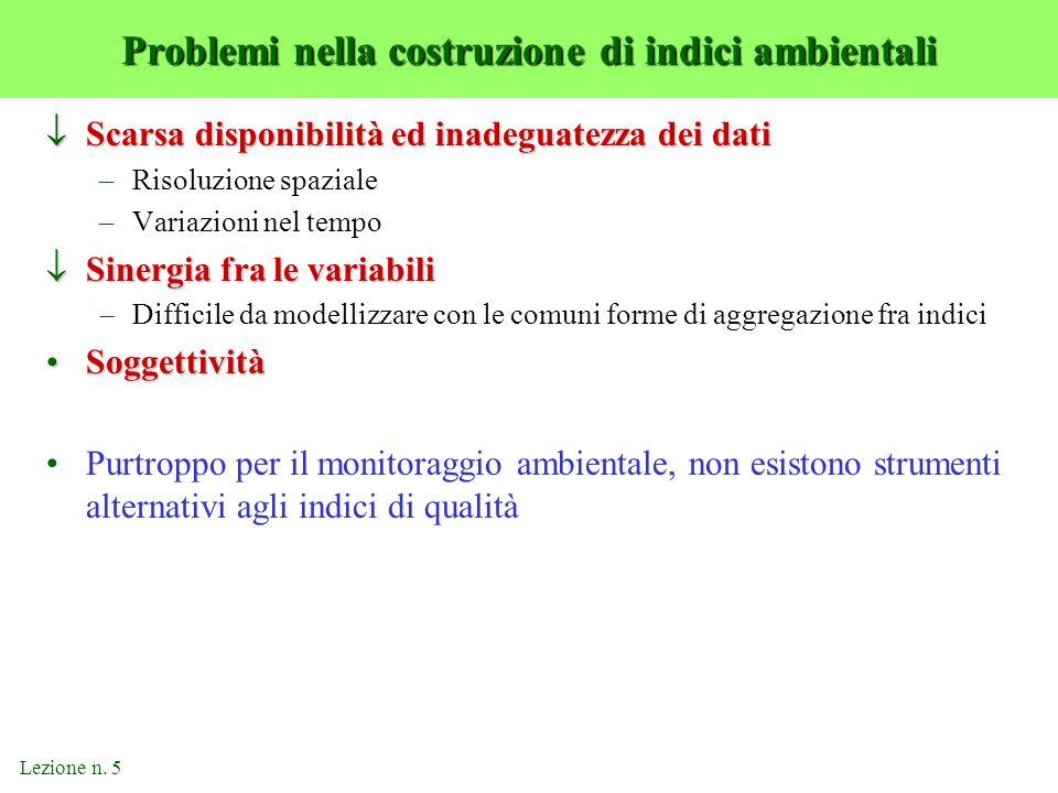 Lezione n. 5 Problemi nella costruzione di indici ambientali  Scarsa disponibilità ed inadeguatezza dei dati –Risoluzione spaziale –Variazioni nel te