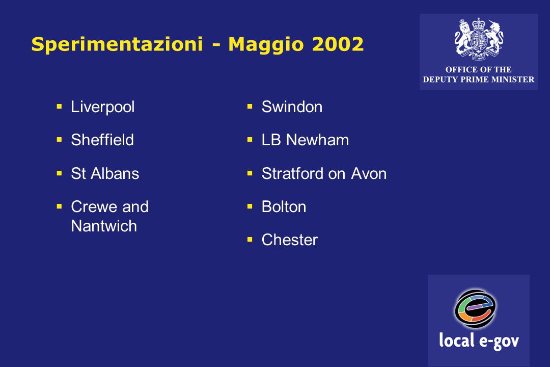 Sperimentazioni - Maggio 2002  Liverpool  Sheffield  St Albans  Crewe and Nantwich  Liverpool  Sheffield  St Albans  Crewe and Nantwich  Swindon  LB Newham  Stratford on Avon  Bolton  Chester