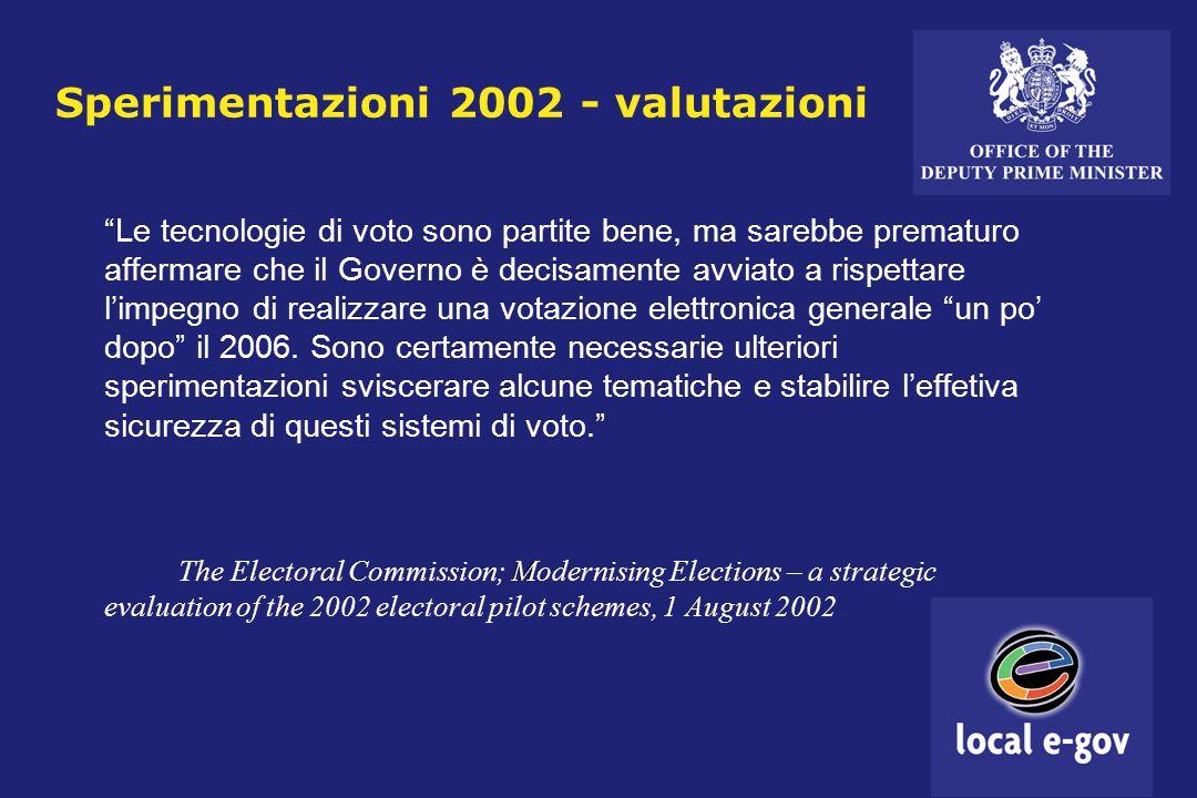 Sperimentazioni 2002 - valutazioni Le tecnologie di voto sono partite bene, ma sarebbe prematuro affermare che il Governo è decisamente avviato a rispettare l'impegno di realizzare una votazione elettronica generale un po' dopo il 2006.