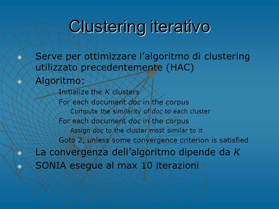 Clustering iterativo   Serve per ottimizzare l'algoritmo di clustering utilizzato precedentemente (HAC)   Algoritmo: 1.