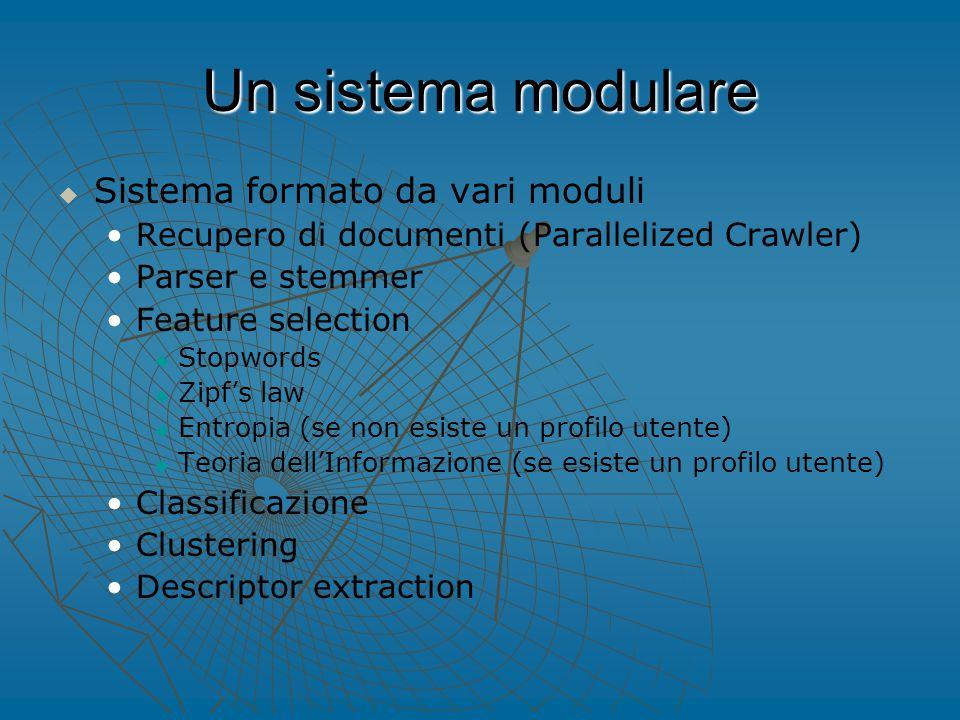 Un sistema modulare   Sistema formato da vari moduli Recupero di documenti (Parallelized Crawler) Parser e stemmer Feature selection   Stopwords   Zipf's law   Entropia (se non esiste un profilo utente)   Teoria dell'Informazione (se esiste un profilo utente) Classificazione Clustering Descriptor extraction