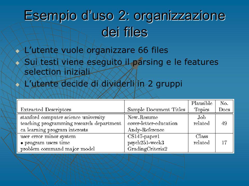 Esempio d'uso 2: organizzazione dei files   L'utente vuole organizzare 66 files   Sui testi viene eseguito il parsing e le features selection iniziali   L'utente decide di dividerli in 2 gruppi