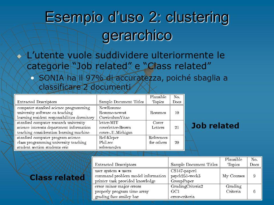 Esempio d'uso 2: clustering gerarchico   L'utente vuole suddividere ulteriormente le categorie Job related e Class related SONIA ha il 97% di accuratezza, poiché sbaglia a classificare 2 documenti Job related Class related