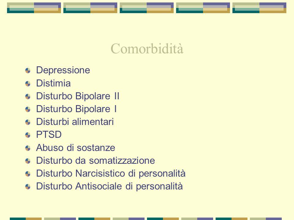 Comorbidità Depressione Distimia Disturbo Bipolare II Disturbo Bipolare I Disturbi alimentari PTSD Abuso di sostanze Disturbo da somatizzazione Distur