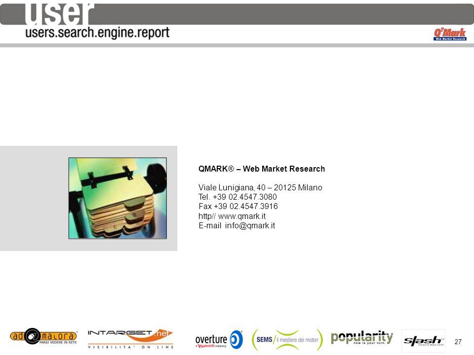 27 per QMARK® – Web Market Research Viale Lunigiana, 40 – 20125 Milano Tel. +39 02.4547.3080 Fax +39 02.4547.3916 http// www.qmark.it E-mail info@qmar