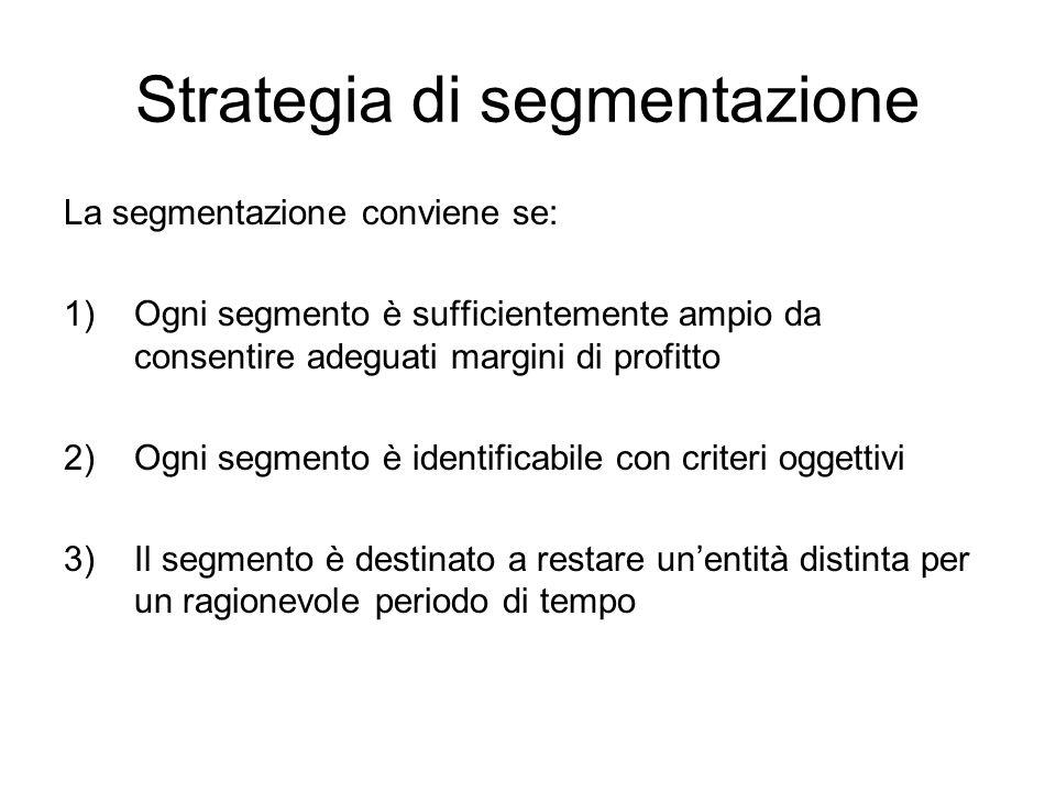 Strategia di segmentazione La segmentazione conviene se: 1)Ogni segmento è sufficientemente ampio da consentire adeguati margini di profitto 2)Ogni se
