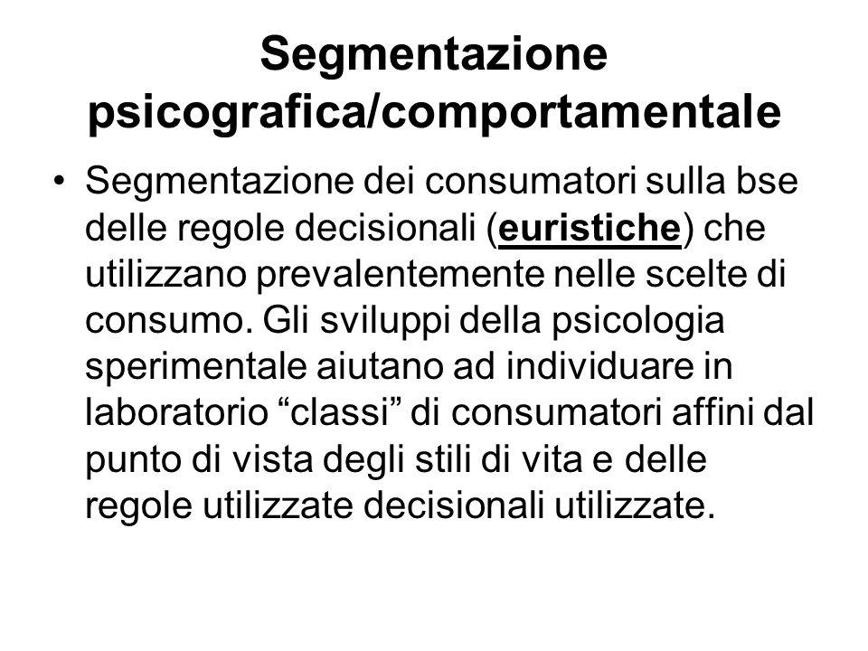 Segmentazione psicografica/comportamentale Segmentazione dei consumatori sulla bse delle regole decisionali (euristiche) che utilizzano prevalentement